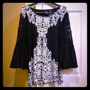 Alfani Black and White Lace Tunic